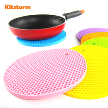 18cm Round Silicone Non slip Heat Resistant Mat Coaster Cushion Placemat Pot Holder Kitchen Accessories