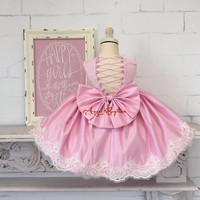 Pink Flower Girl Dresses 1st Birthday Outfit Lace Appliqued Draped Girl Summer Dress Crisscross Back Baby