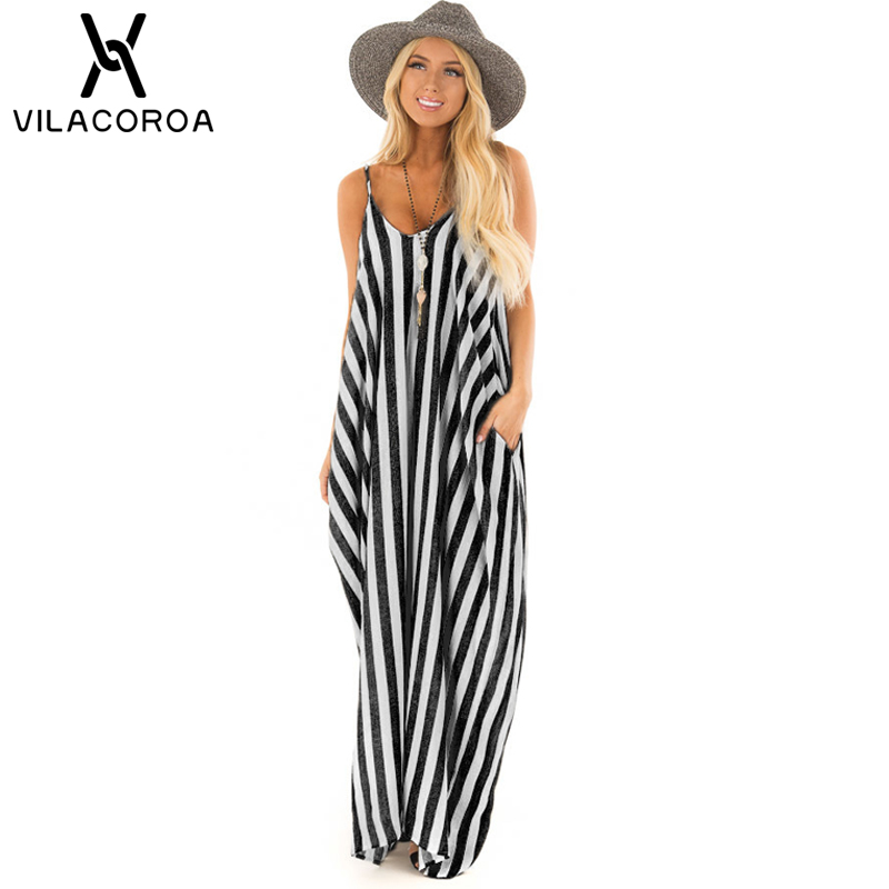 Summer <font><b>Sexy</b></font> Camis Stripe Stitching Pocket Women's Dresses <font><b>Vestidos</b></font> Straight Beach Dress For Women sukienki <font><b>vestidos</b></font> <font><b>verano</b></font> <font><b>2018</b></font> image