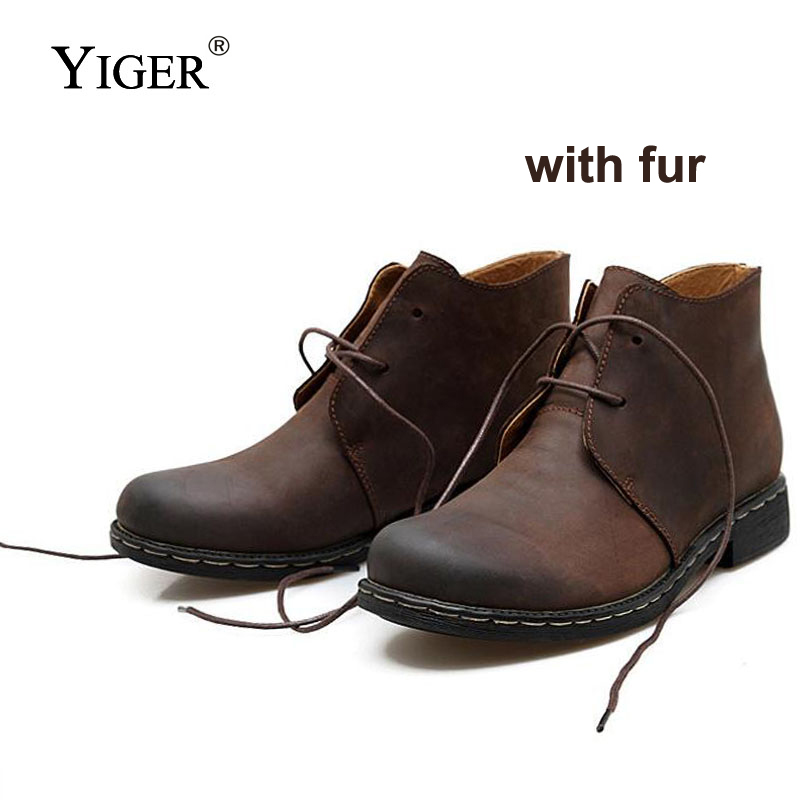 YIGER NEW Autumn/Winter Men Martins Boots Casual Lace-up Men Boots Genuine Leather Male Desert Bot Man Cowboy Boots Army Bot 021