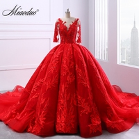 Miaoduo V Neck Lace Up Ball Gown Red Wedding Dresses 2018 Lace Appliques Pearls Vestido De