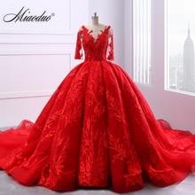 Miaoduo thiết kế Màu Đỏ Wedding Dresses Scoop Bóng Gown Ren Appliques Ngọc Trai Vestido De Novias Công Chúa Nhà Thờ Train Cao cấp mới