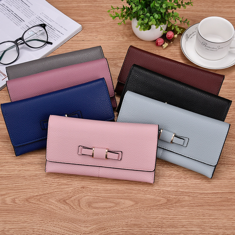 Long Wallet Women Purses Fashion Litchi Coin Purse Card Holder Wallets Female Quality Clutch Money Bag PU Leather Wallet in Wallets from Luggage Bags