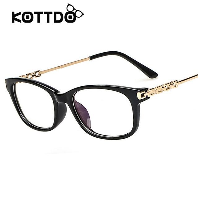 9f7dab0198ce8 Quadrado Óculos Óculos Cadeia de Mulheres de Metal Óculos Quadro Mulheres  vidros do Olho Óptico Óculos