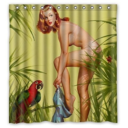 Vintage Retro Pin Up Girls Sexy Naked Pretty Girl Waterproof Shower Curtain