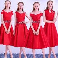 Elegant Bride Dress 2018 New Red Slender Medium length Performance Wedding Party Dress Sexy Host Party Dress