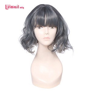 Image 1 - L email peruk Ince Hava Saçak Patlama Kadın Peruk 5 Renk 40 cm/15.74 inç Kısa Kıvırcık Isıya dayanıklı Sentetik Saç Peruk Cosplay Peruk