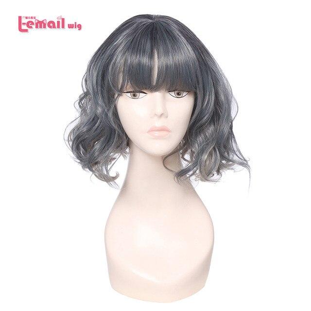 L email peruk Ince Hava Saçak Patlama Kadın Peruk 5 Renk 40 cm/15.74 inç Kısa Kıvırcık Isıya dayanıklı Sentetik Saç Peruk Cosplay Peruk