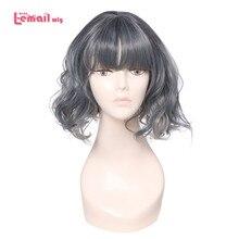 L mail peruka powietrza Fringe huk kobiety peruki 5 kolor 40 cm/15.74 cal krótkie kręcone ciepła odporne na włosy syntetyczne Perucas peruka do cosplay