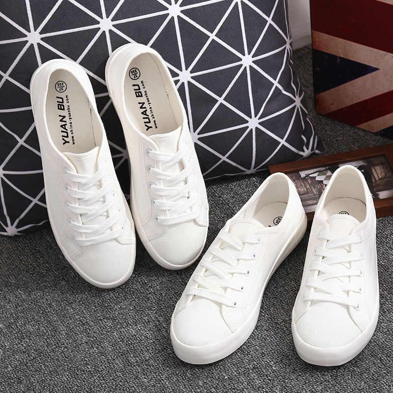 ... Classic White Sneakers Women Casual Canvas Shoes Female Summer Lace-Up  Flat Trainers Fashion zapatillas ... 03f999e5e54e