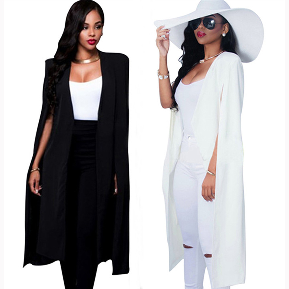Women Elegant Blazer 2018 Hot Selling Contrast Binding Open Front Cape Long Sleeve Blazer White Black Longline Plain Outer(China)
