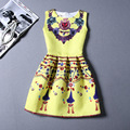 Mulheres moda frisado colar de impressão sem mangas colete fino a-line dress