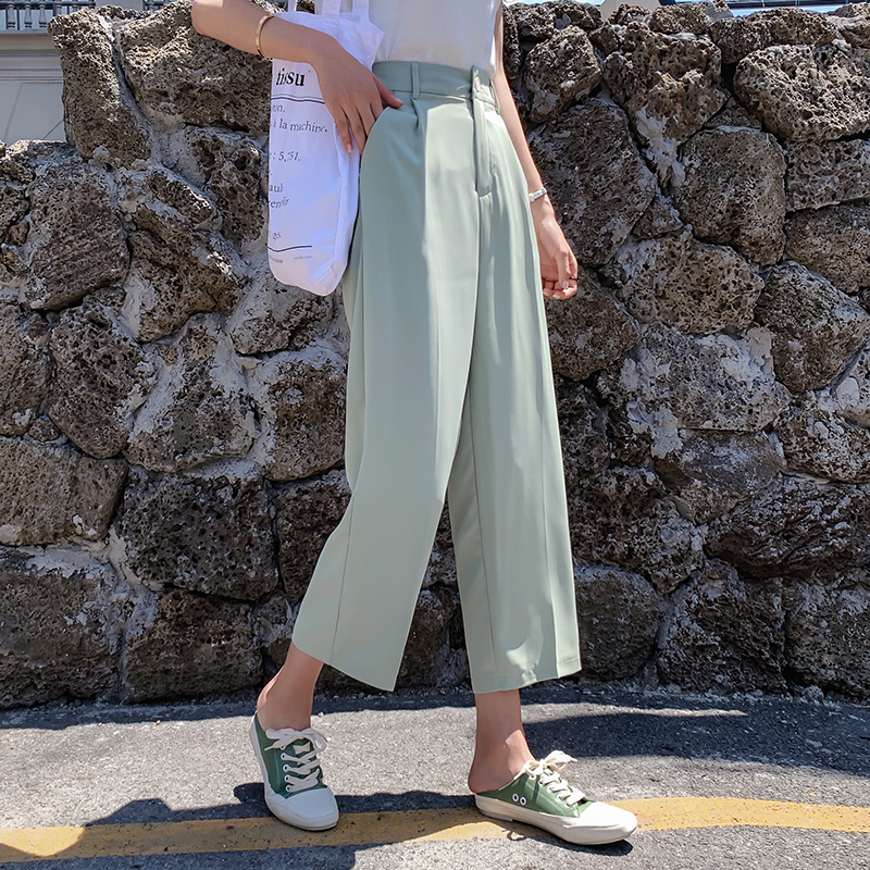 Summer Casual Women   Wide     Leg     Pants   Elegant Pockets Loose Female Trousers High Waist Work Suit   Pants   Pantalon Femininas 2019