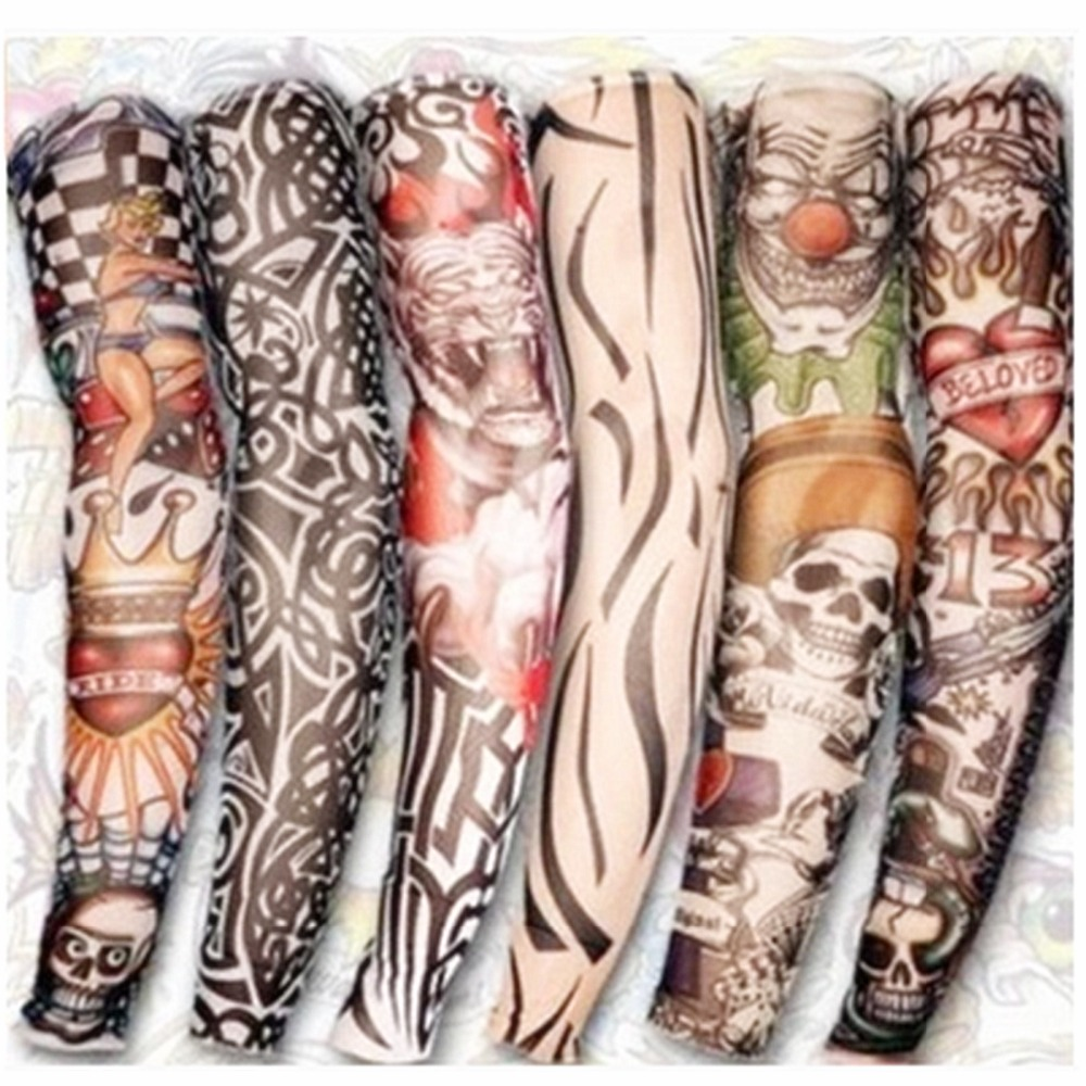 Tatoo Stocking Tattoos Art Arm Sleeve Fake Temporary Arm Warmer Designs Stylish Cool Fancy Dress 6PC/lot