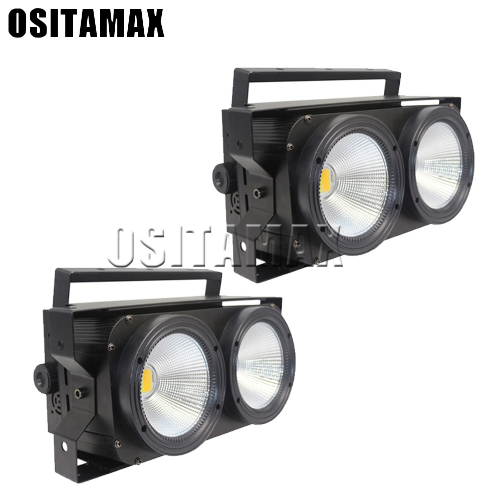 2pcs LED Blinder Audience Light COB 2x100w Warm White Cool White LED Stage Lighting Effect DMX512 Strobe  Blinder Disco Light