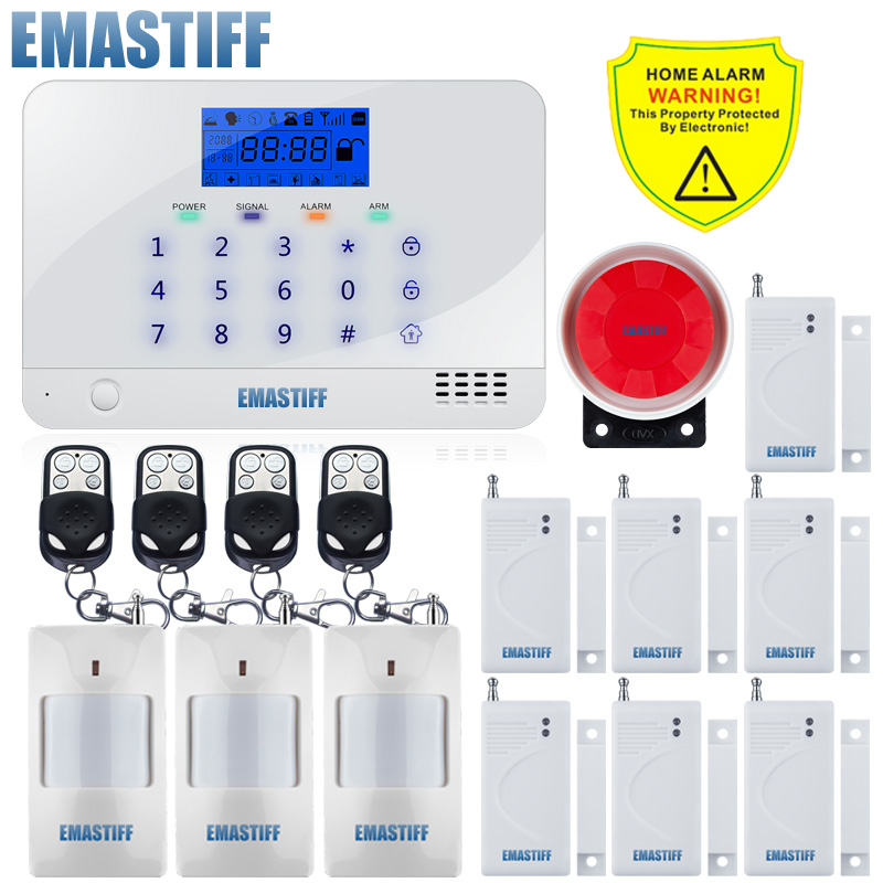 Support English Russian Spanish French Voice Manual LCD Display Home Security GSM Kit SIM SMS Alarm