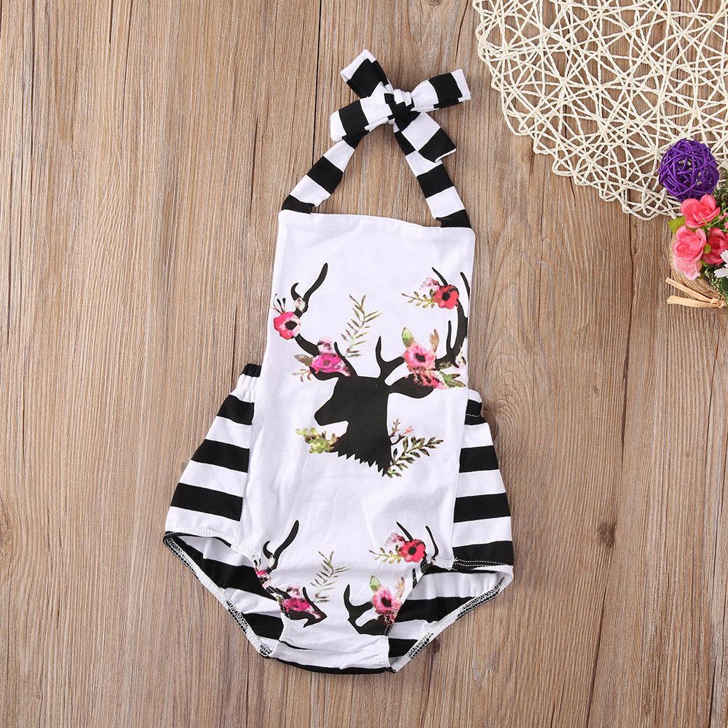US STOCK Newborn Infant Baby Girl Bodysuit Floral Romper Jumpsuit Outfit Clothes