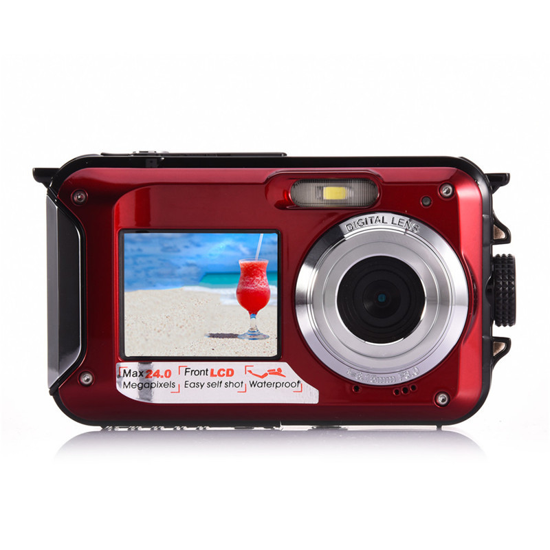 Amkov Mini Camera Dual-screen 24 MP W599 Front And Rear Life Waterproof Self-timer Pocket Camera Mini Digital Camera self tie dual pocket front dress