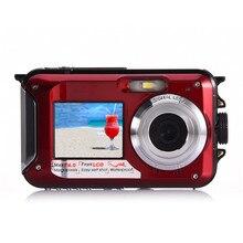 Big sale Amkov Mini Camera Dual-screen 24 MP W599 Front And Rear Life Waterproof Self-timer Pocket Camera Mini Digital Camera