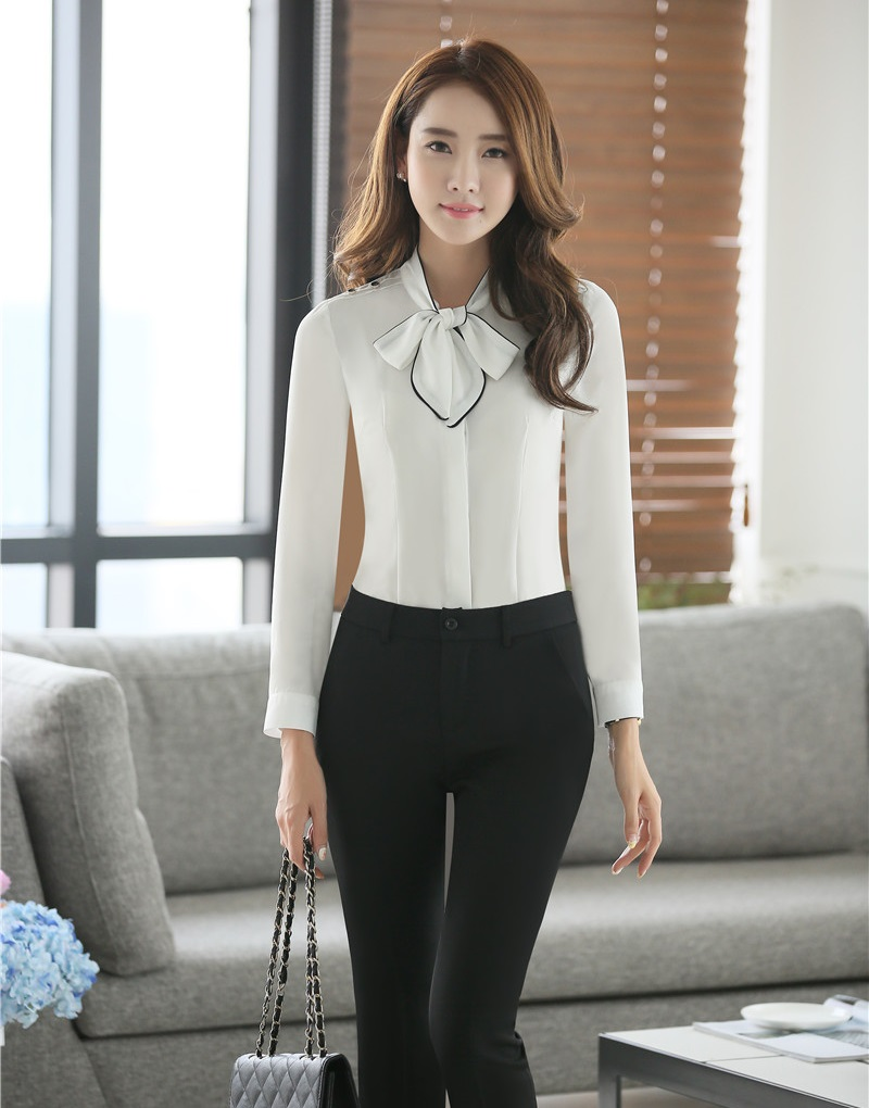 c3b721699f23 Formal Fashion Pantsuits 2 Piece Sets Women Business Suits with Pant and Top  Sets Ladies White ...