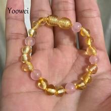 4228e17d4b7a Yoowei bebé pulsera de ámbar dentición collar con piedra preciosa natural  de cuarzo rosa anudada ámbar