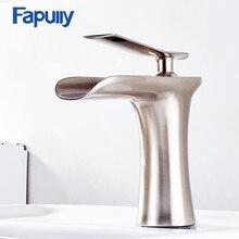 Fapully רחצה מפל אגן מגופים Chrome יחיד חור אמבטיה אגן ברז חם קר כיור מים ברז 130-11N