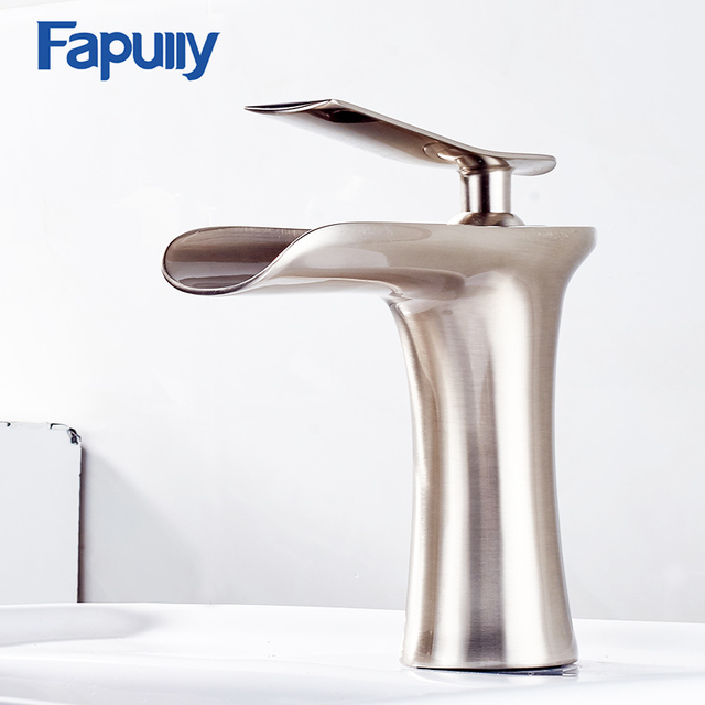 Fapully Bathroom Waterfall Basin Faucet Chrome Single Hole Bathroom Faucet  Hot Cold Sink Water Tap