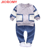 2016 Boys Spring Two Fake Clothing Sets Kids Boys Button Letter Bow Suit Sets Children Jacket