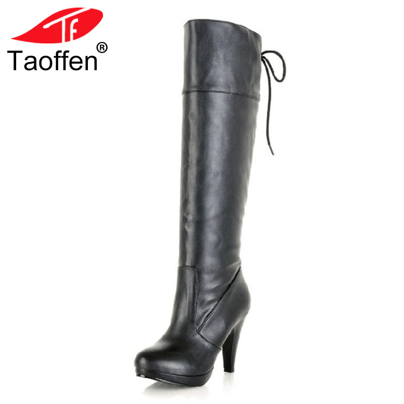TAOFFEN Size 34-43 Women High Heel Over Knee Boots Ladies Riding Long Snow Boot Warm Winter Botas Heels Footwear Shoes P8028 стоимость