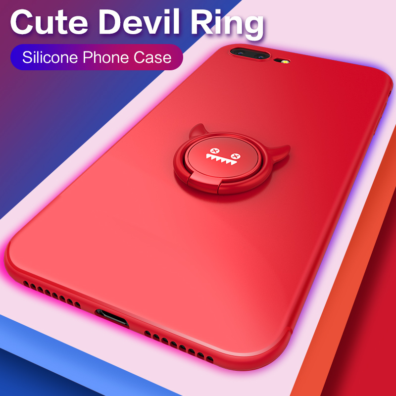 Lxuxry Cases For iPhone 6 6s 7 8 Plus Ring Holder Soft Silicone Case Cover Bumper XR XS MAX Plain Fundas Coques