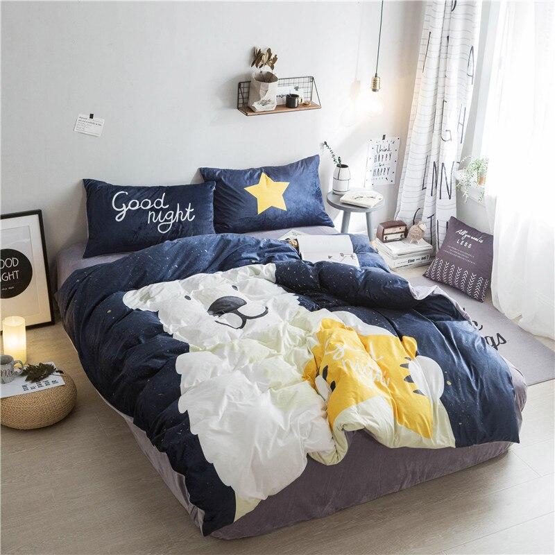 Textile à la maison, ours mignon Imprimé 4 pièces ensembles de literie de luxe Polaire tissu Housse de couette drap de Lit Taie D'oreiller, taille Queen, livraison gratuite - 2