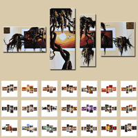 Modern Hand Painted Abstract Africa People Tree Life Sunset Elephant Oil Paintings Group 4 Panel Wall Art On Canvas Home Decor