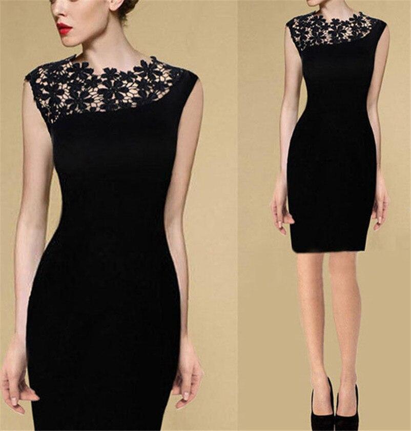 Hot Fashion Summer Dress Women Black Floral Sleeveless Evening Party Slim Casual Mini Lace Dress Office Dresses Female Vestidos short dresses office wear