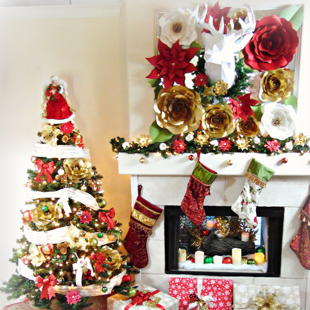 paper flower christmas decorations paper flower christmas