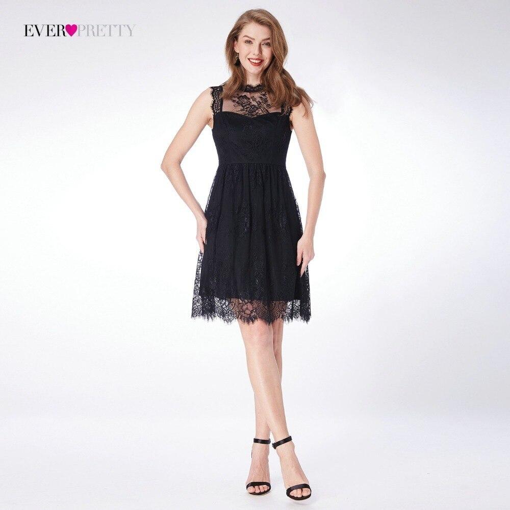 Homecoming Dress Ever Pretty Illusion Lace Black Sleeveless A-line Mini Above Knee Length Girl's Fashion Graduation Party Dress
