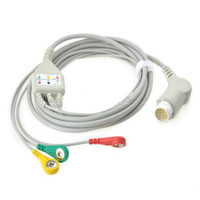 Compatible for Philips/HP 12Pin MP20/30/VM6 Patient Monitor ECG Cable 3 Leads, ECG Cable leadwires Snap End IEC .TPU 3M