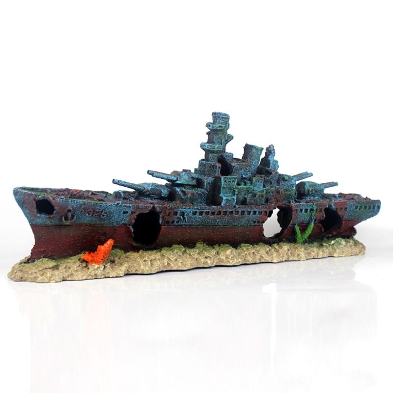 NUOVO 49 cm Navy Nave Da Guerra Nave Batttle Resina Barca Aqaurium Fish Tank Decorazione Ornamento-in Decorazioni da Casa e giardino su  Gruppo 2