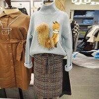 2017 Autumn Winter New Turtleneck Knitted Sweater Women Cute Fox Long Sleeve Pullover Female Casual Korean