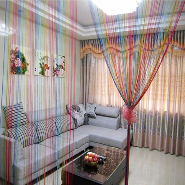 Sweet String Line Curtain Door Window Decor Panel Room Divider Curtain  Rainbow Color String Curtain Strip