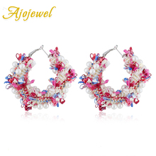 Ajojewel Simulated Pearl Hoop Earrings For Women Cute Lace Flower Wreath Ladies Fashion Jewelries Earings Wholesale