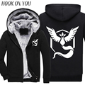 2017 Winter Hot Cartoon Pokemon Go Pikachu Men Thicken Hoodie Print Thermal Fleece Male Casual Clothes Warm Sweatshirt Cool Coat