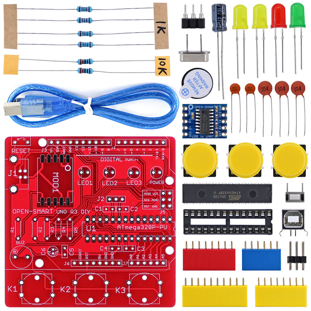 OPEN-SMART UNO R3 DIY ATmega328P Development Board CH340 Driver Soldering Parts Kit With Buzzer LED Button For Arduino UNO R3 -R