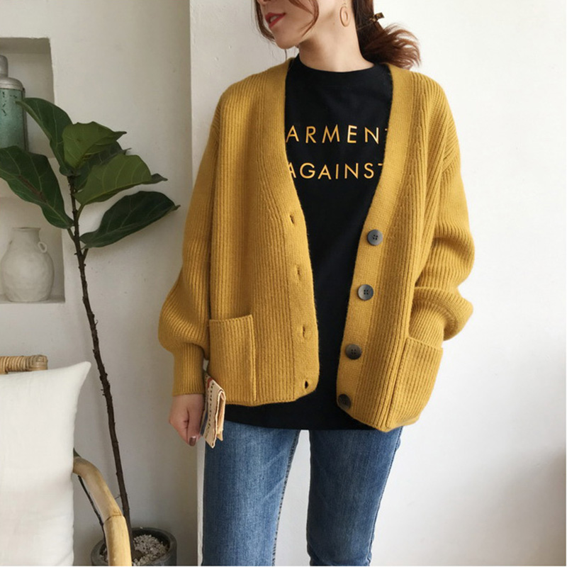 2019 Autumn Women Cardigans Sweater Casual Long Sleeve Single-breasted Knitted Cardigan Winter Thick Loose Solid Sweater Outwear