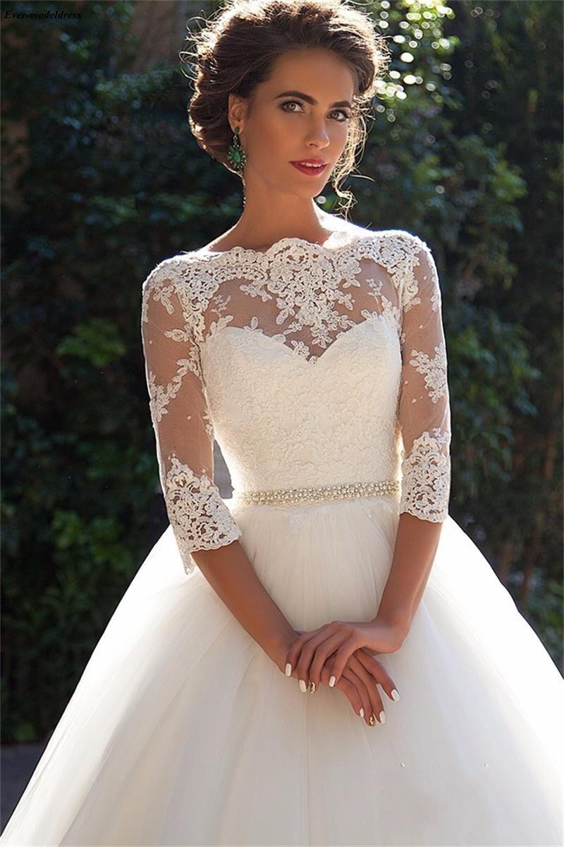 suknia slubna 2019 Charming Princess Wedding Dresses Lace Appliques Illusion bruidsjurken Bridal Gowns With Sleeves Plus Size