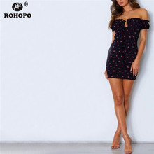 ROHOPO Off Shoulder Rose Floral Women Bodycon Dress Strapless Ruffles Printed Sexy Party Vintage Dress #YY337C off shoulder allover printed shirred dress