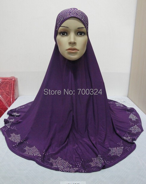 H764a latest big size muslim hijab with rhinestones fast delivery assorted colors