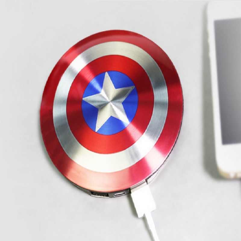 6800 mah powerbank zewnętrzna bateria kapitan ameryka tarcza USB moc banku ładowarka samochodowa do xiaomi mi5 iphone6 6 s darmowa wysyłka