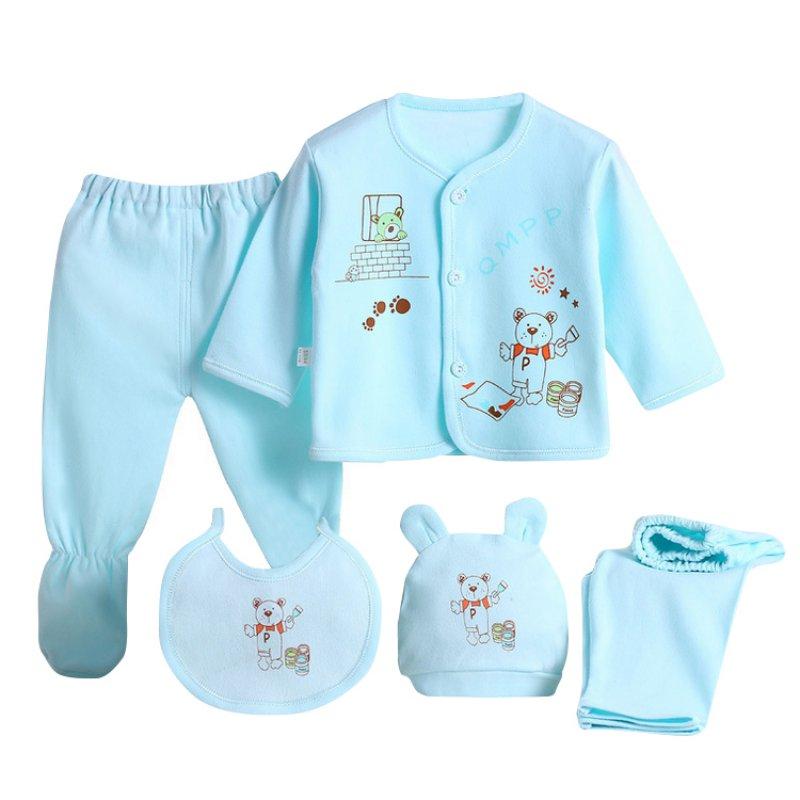 Naujas kūdikių drabužių komplektas gimęs berniukų mergaičių minkštas apatinis trikotažas Gyvūnų spausdinimo marškinėliai ir kelnės Medvilniniai drabužiai