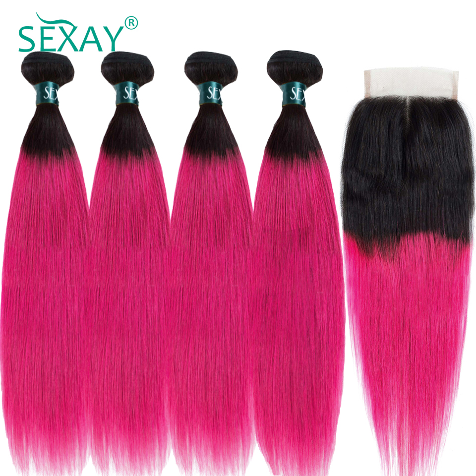 SEXAY Ombre Human Hair 4 Bundles With Closures Dark Roots Rose Pink Ombre Brazilian Straight Hair Weave With Closures Non Remy