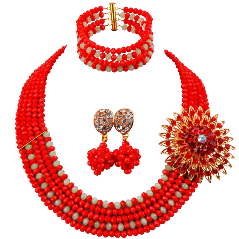Characteristic Unique Opaque Red Mint Green Crystal Beads Women Neckalce Jewelry Set for Anniversary Present 5C-ST-20